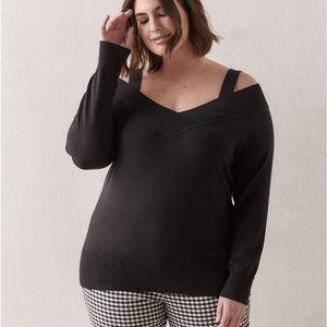 Addition Elle Black V-Neck Off Shoulder Sweater XL